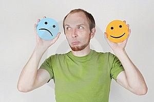 Man Holding Emotion Smile Symbols Stock Images - Image: 20291484