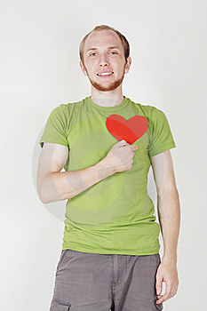 Man Holding Valentine Heart Card Royalty Free Stock Photos - Image: 20291488