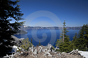 Crater Lake With Snow Royalty Free Stock Photography - Image: 20292727