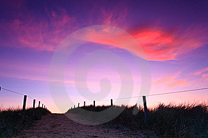 Path In The Sand Dunes At Sunset Royalty Free Stock Image - Image: 20296916
