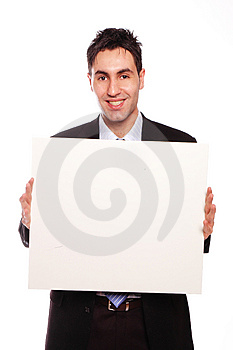 Successful businessman and blank cardboard