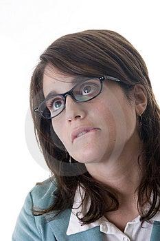 Secretary Bored Biting Her Lower Lip Stock Photography - Image: 2033252