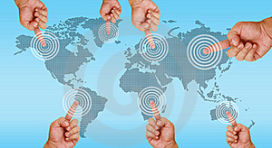 Hand Pointing On Continent Stock Photos - Image: 20302903