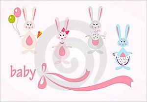 Set Of Hares, Baby Background Royalty Free Stock Photo - Image: 20303375