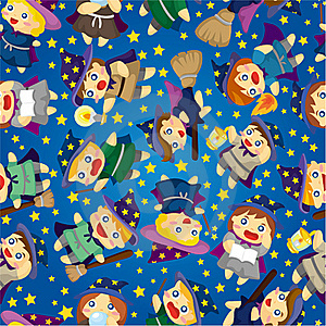 Cartoon Wizard And Witch Magic Seamless Pattern Royalty Free Stock Photo - Image: 20310105