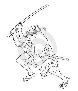 Samurai Warrior With Katana Sword Fighting Stance Stock Photography - Image: 20310922