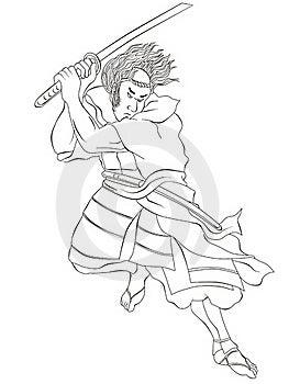 Samurai Warrior With Katana Sword Fighting Stance Royalty Free Stock Photo - Image: 20310925