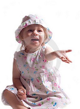 The Little Girl In A Dress With Arm Outstretched Stock Photography - Image: 20311232