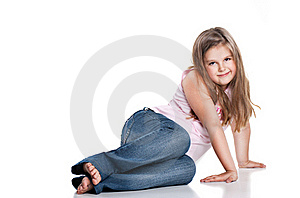 Cute Happy Little Girl Sitting On White Background Royalty Free Stock Image - Image: 20313226