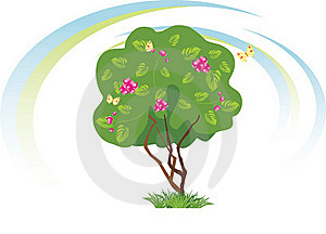 Stylized Flowering Tree With Butterflies Royalty Free Stock Photography - Image: 20313777