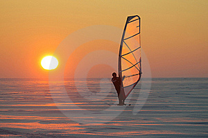 Ice Sailor At Sunset Royalty Free Stock Images - Image: 20315179