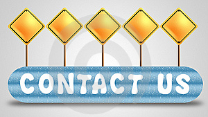 Blank Signboard And Contact Us Button Stock Photo - Image: 20316590