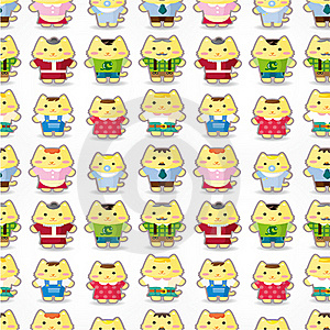 Sweet Cat Family Seamless Pattern Stock Photography - Image: 20322982