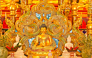Buddha And Thai Naga Style. Stock Photos - Image: 20329963