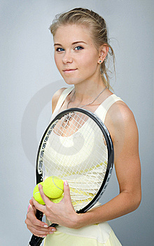 Girl With A Tennis Racket Royalty Free Stock Image - Image: 20332746