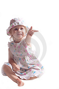 The Little Girl In A Dress With Arm Outstretched Royalty Free Stock Image - Image: 20334096