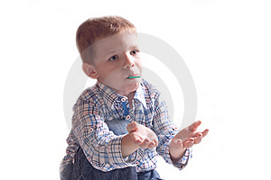The Little Boy In A Dress With Arm Outstretched Royalty Free Stock Photos - Image: 20334108