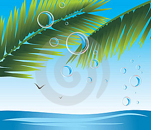 Palm Branches With Bubbles. Seascape Royalty Free Stock Image - Image: 20335366