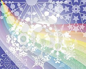 Rainbow's Snow Flakes Royalty Free Stock Photography - Image: 20350597