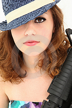 Beautiful  Mafia Girl Costume With Riffle Portrait Royalty Free Stock Photography - Image: 20354747