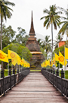 Wooden Bridge To Ruin Pagoda (vertical Closed Up) Royalty Free Stock Photography - Image: 20360407