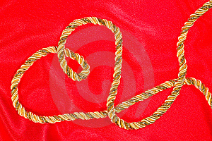 Gold Thread On Red Satin Stock Images - Image: 20361884