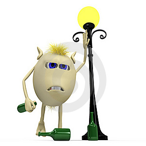 Haired Drunkard Puppet Standing Near Metal Latern Royalty Free Stock Image - Image: 20362726