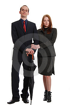 Young Businessmen With An Umbrella Royalty Free Stock Image - Image: 20366236