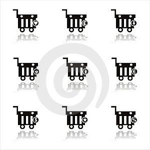 Black Shopping Baskets Icons Royalty Free Stock Photo - Image: 20366855