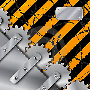 Metal Plate And Gears On Dirty  Grunge Stock Images - Image: 20366864