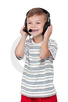 Boy With Headphones Royalty Free Stock Images - Image: 20367139