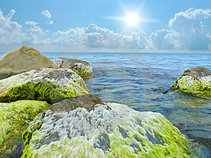 Stones Into The Sea Royalty Free Stock Images - Image: 20376219