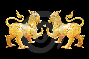 Couple Thai Lion Royalty Free Stock Photo - Image: 20376685