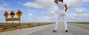 Woman Standing On Highway Royalty Free Stock Photos - Image: 20376848