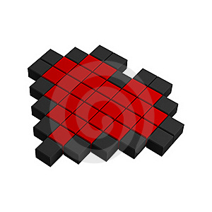 3d Heart Pixel Icon Royalty Free Stock Image - Image: 20383016