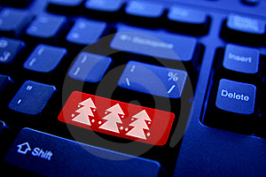Christmas tree on Computer Key Stock Photos