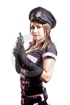 Sexy Police Woman With Gun On White Background Stock Photos - Image: 20388163