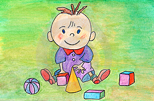 Baby Playing. Original Hand Drawing. Royalty Free Stock Images - Image: 20388909