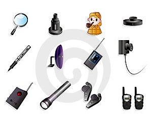 Cartoon Detective Equipment Icon Set Stock Photos - Image: 20389043