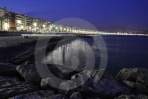 Promenade In Nice At Night Royalty Free Stock Photo - Image: 20391005