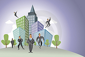 Businessmen Over City Royalty Free Stock Images - Image: 20395189