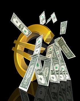 Euro Symbol Strikes Dollar Tower Royalty Free Stock Image - Image: 20399686