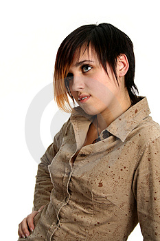 The Brunette Girl With A Pensive Sight Stock Photography - Image: 2043112