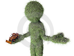 Grass Man With Buldozer Toy Stock Photo - Image: 20405590