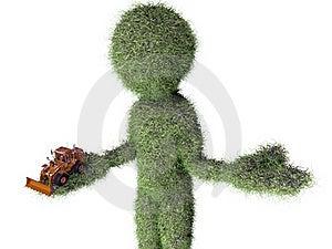 Grass Man With Buldozer Toy Stock Photo - Image: 20405590
