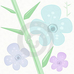 Flowers And Bamboo Asain Style Royalty Free Stock Image - Image: 20415206