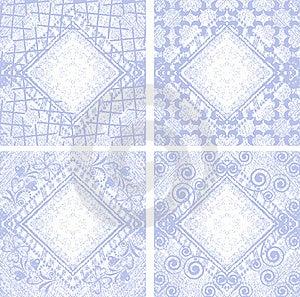Set 4 Grungy Denim Floral Jeans Vector Background. Stock Images - Image: 20415994