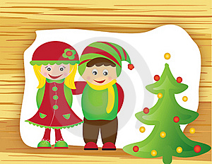 Christmas Card Frame Gift Figures Tree Royalty Free Stock Photography - Image: 20416837