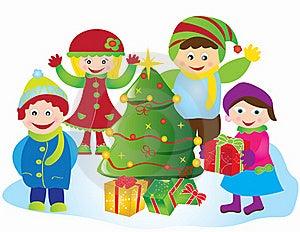 Christmas Card Frame Gift Figures Tree Stock Photography - Image: 20416882