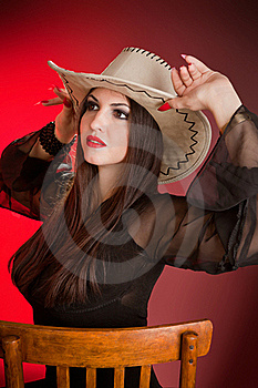 Lady In A Cowboy Hat Stock Photo - Image: 20416900